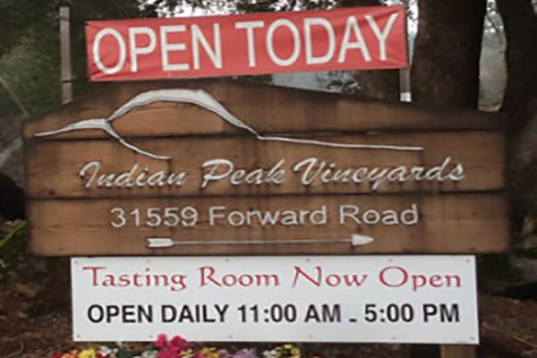 The Winery Wine Tasting Room is Open Daily at the Indian Peak Vineyards, Manton, CA 96059.