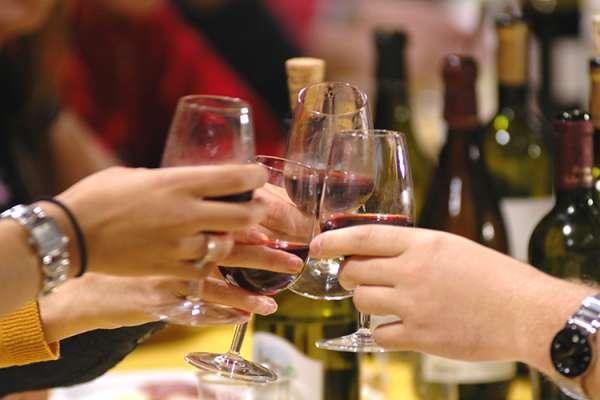 Wine Tasting & Glasses Toasting at Indian Peak Vineyards in the Manton Valley California AVA